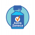 A blue bottle symbol with a check and Astra Zeneca label